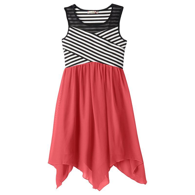 Girls 7-16 Speechless Striped Handkerchief Dress