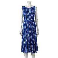 Women's Perceptions Polka-Dot Midi Dress