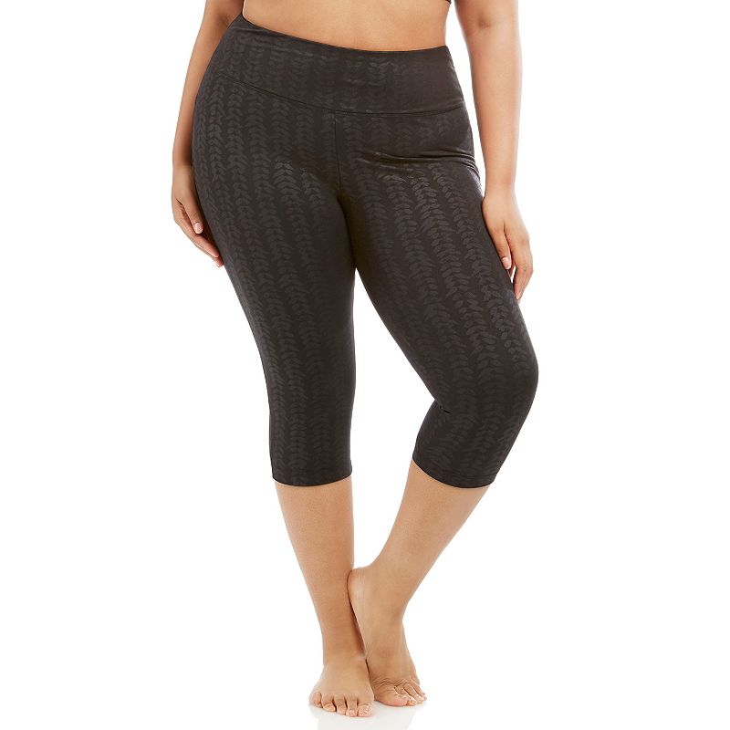 Plus Size Balance Collection Embossed Capri Yoga Leggings