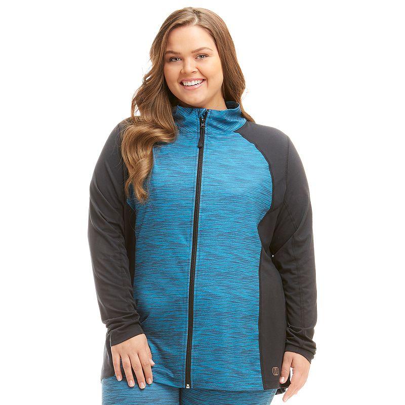 Plus Size Balance Collection Space-Dye Workout Jacket