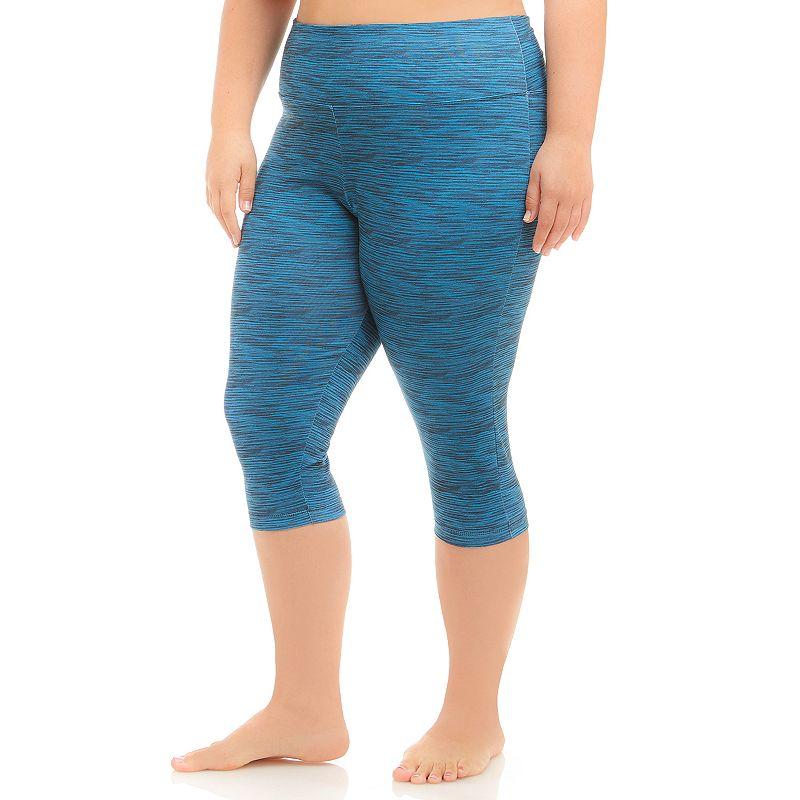 Plus Size Balance Collection Space-Dye Capri Workout Leggings
