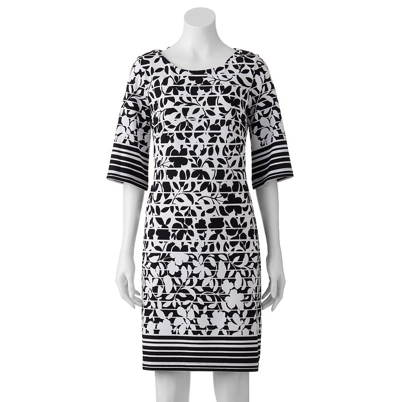 Women's Perceptions Striped Floral Shift Dress