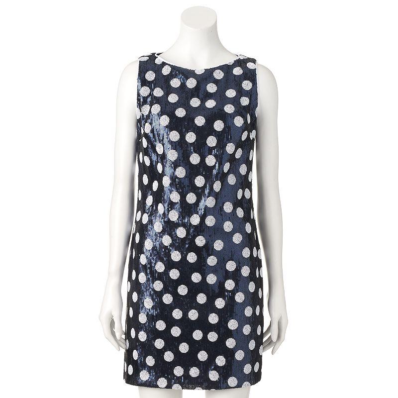 Women's M by Maia Sequin Polka-Dot Shift Dress