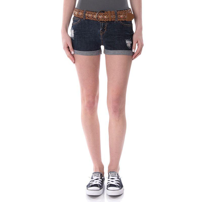 Juniors' Wallflower Destructed Shortie Shorts