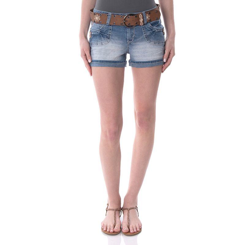 Juniors' Wallflower Faded Cuffed Shortie Shorts