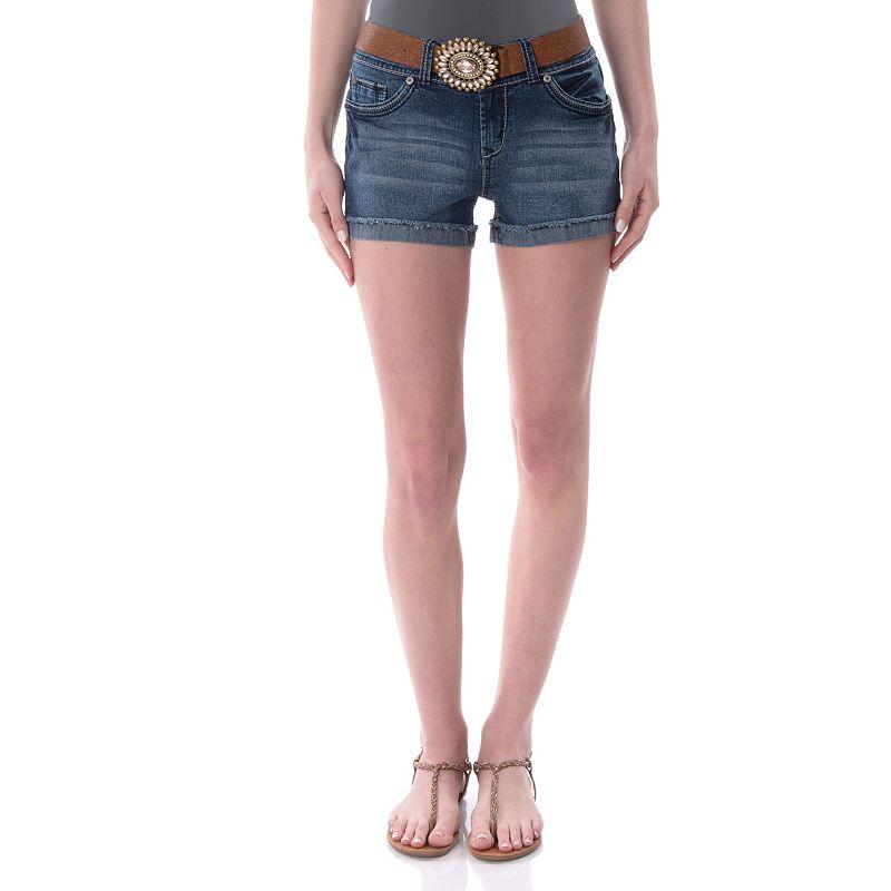 Juniors' Wallflower Back Flap Shortie Shorts