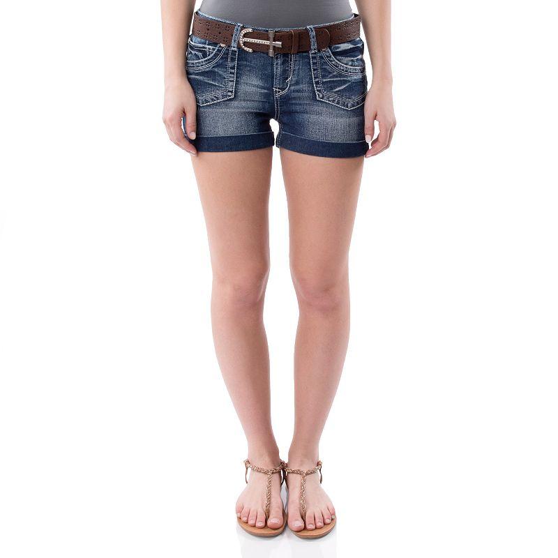 Juniors' Wallflower Faded Shortie Shorts