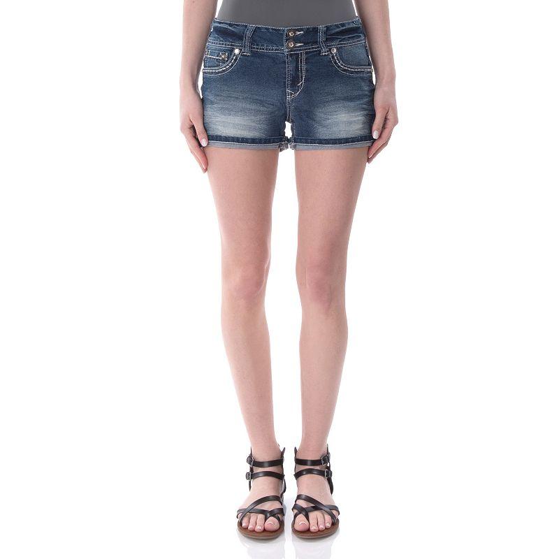 Juniors' Wallflower Embellished Back Flap Shortie Shorts