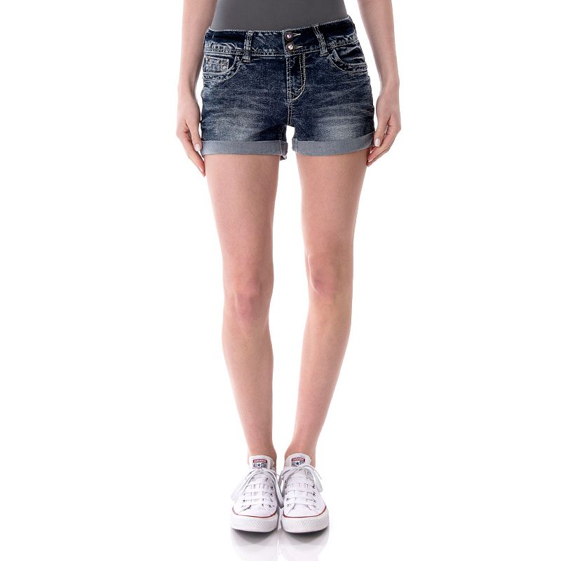 Juniors' Wallflower Embellished 2-Button Shortie Shorts