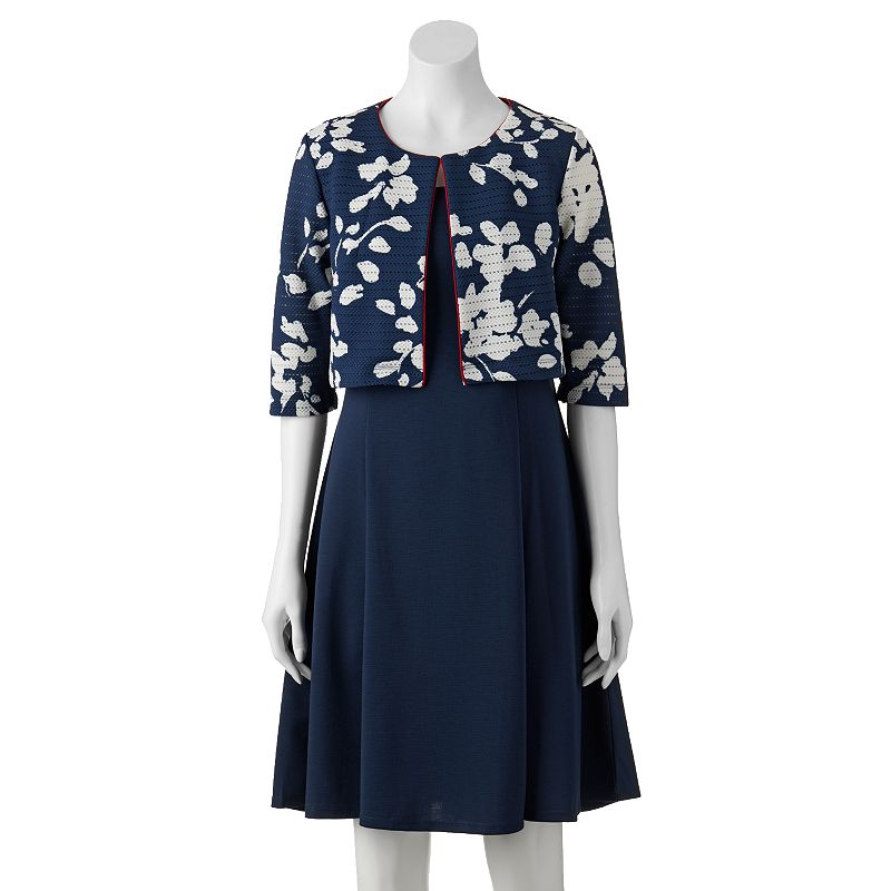 Women's Perceptions A-Line Dress & Floral Jacket Set