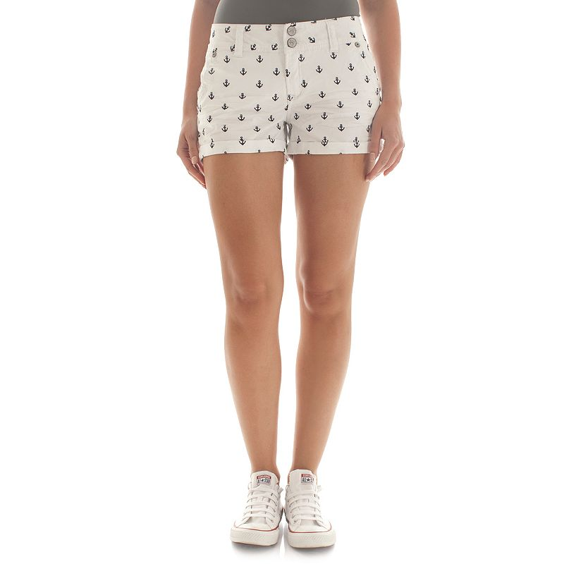 Juniors' Wallflower Embroidered Anchor Twill Shortie Shorts