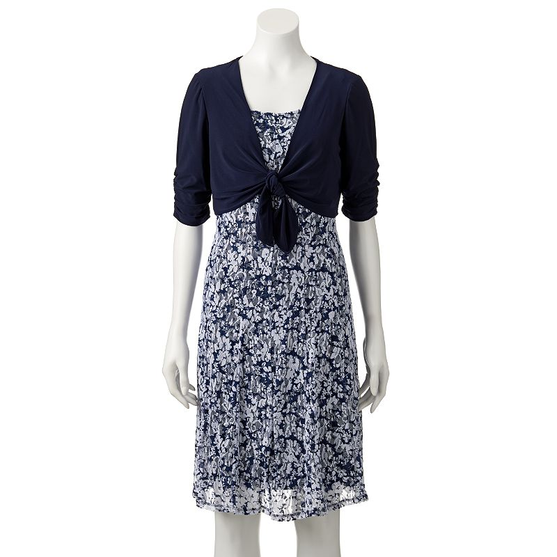Women's Perceptions Floral Dress & Shrug Set
