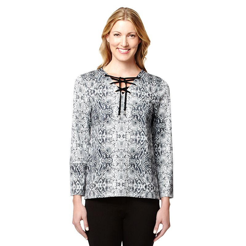 Women's Larry Levine Snakeskin Roll-Tab Top