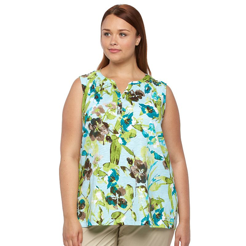 Plus Size Croft & Barrow® Smocked Henley Tank