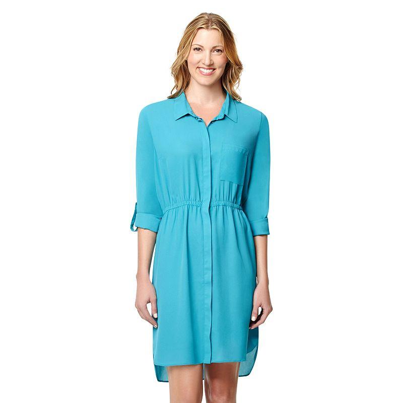 Women's Larry Levine Roll-Tab Shirtdress