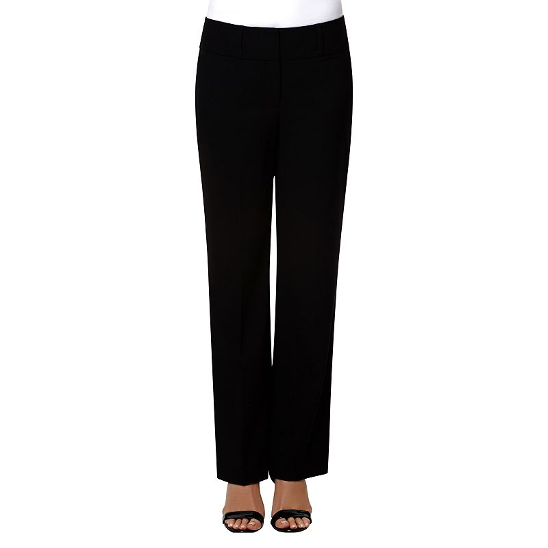 Women's Larry Levine Wide-Waist Straight-Leg Dress Pants
