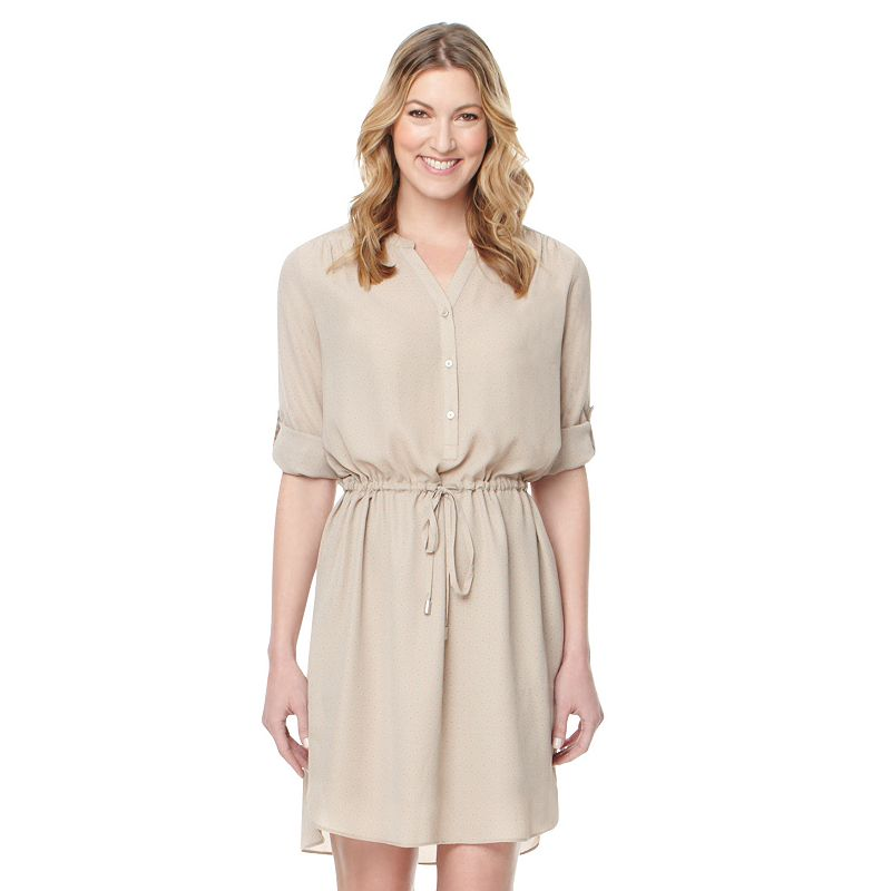 Women's Larry Levine Shirred Shirtdress