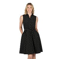 Women's Larry Levine Polka-Dot Shirtdress