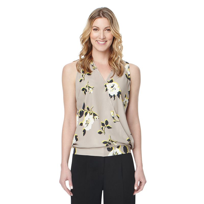 Women's Larry Levine Printed Surplice Top