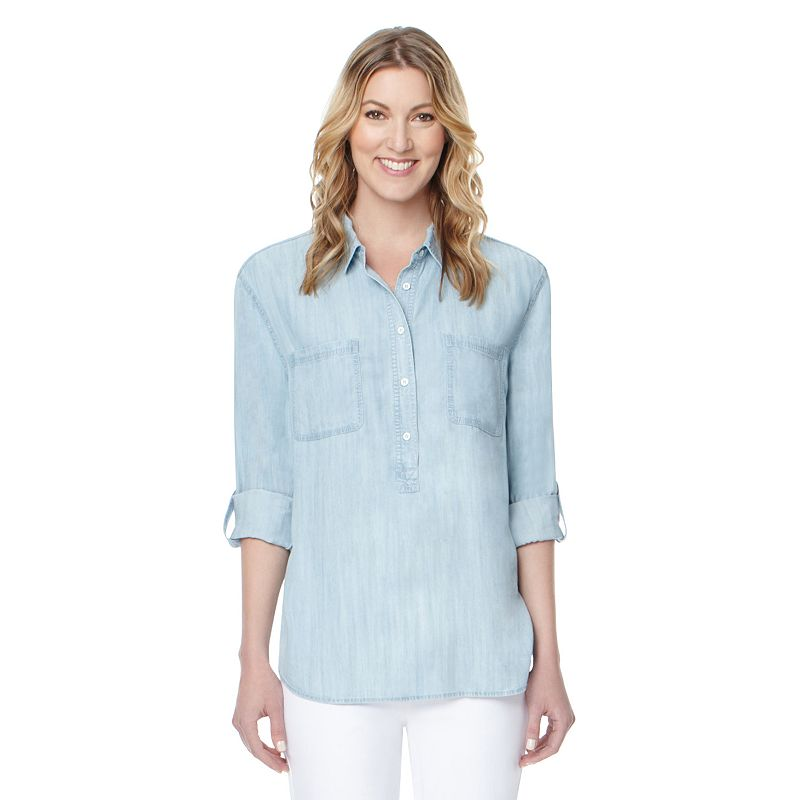 Women's Larry Levine Roll-Tab Chambray Henley