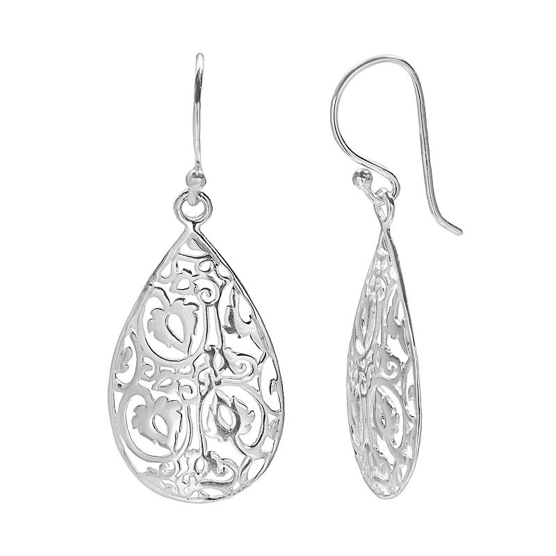 PRIMROSE Sterling Silver Filigree Teardrop Earrings