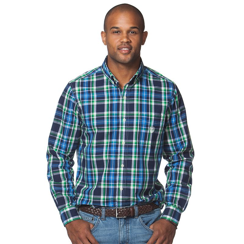 Men's Chaps Easy-Care Large-Plaid Woven Button-Down Shirt