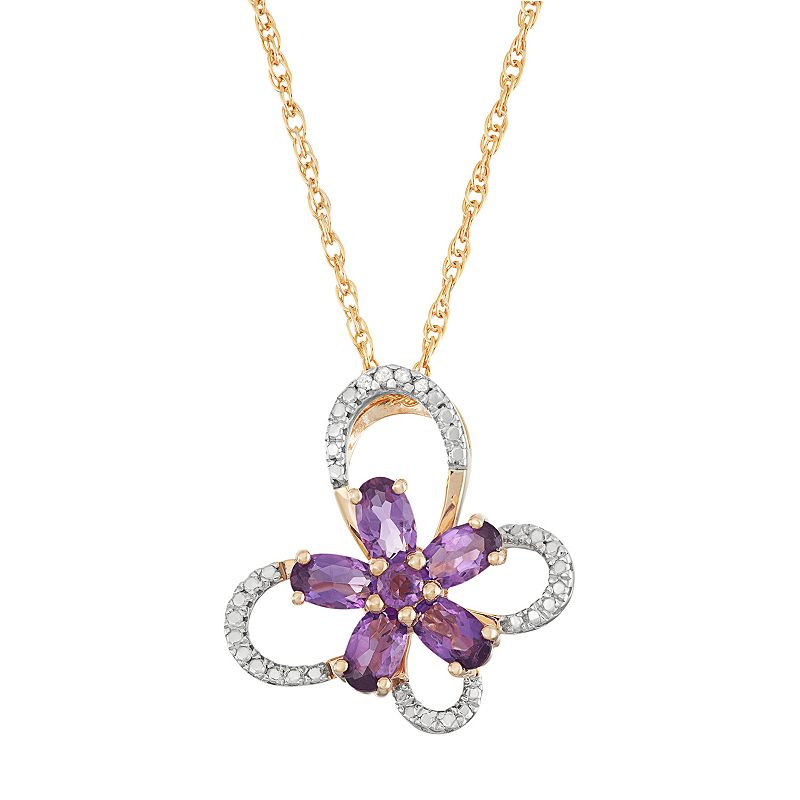18k Gold Over Silver Amethyst Flower & Diamond Accent Butterfly Pendant