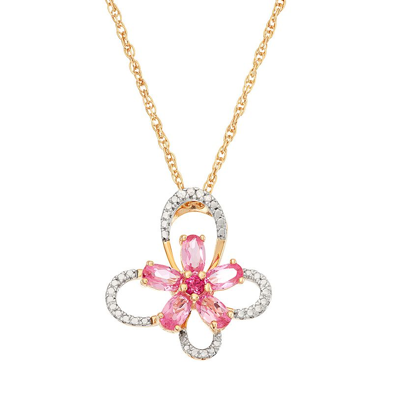 18k Gold Over Silver Lab-Created Pink Sapphire Flower & Diamond Accent Butterfly Pendant