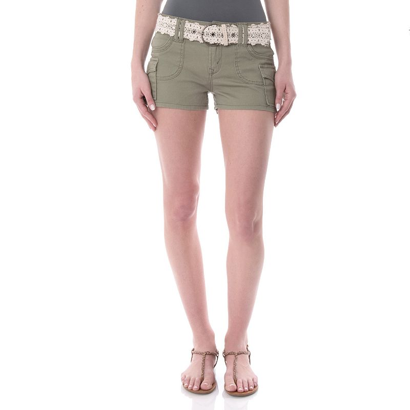 Juniors' Wallflower Back Flap Twill Shortie Shorts