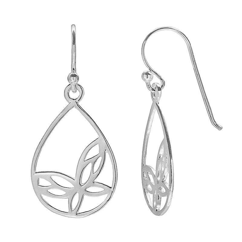 PRIMROSE Sterling Silver Butterfly Teardrop Earrings