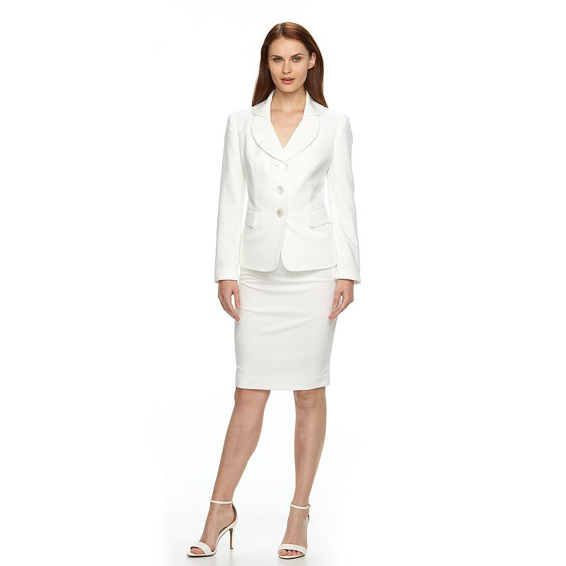 Women's Le Suit Geometric Jacquard Suit Jacket & Skirt Set