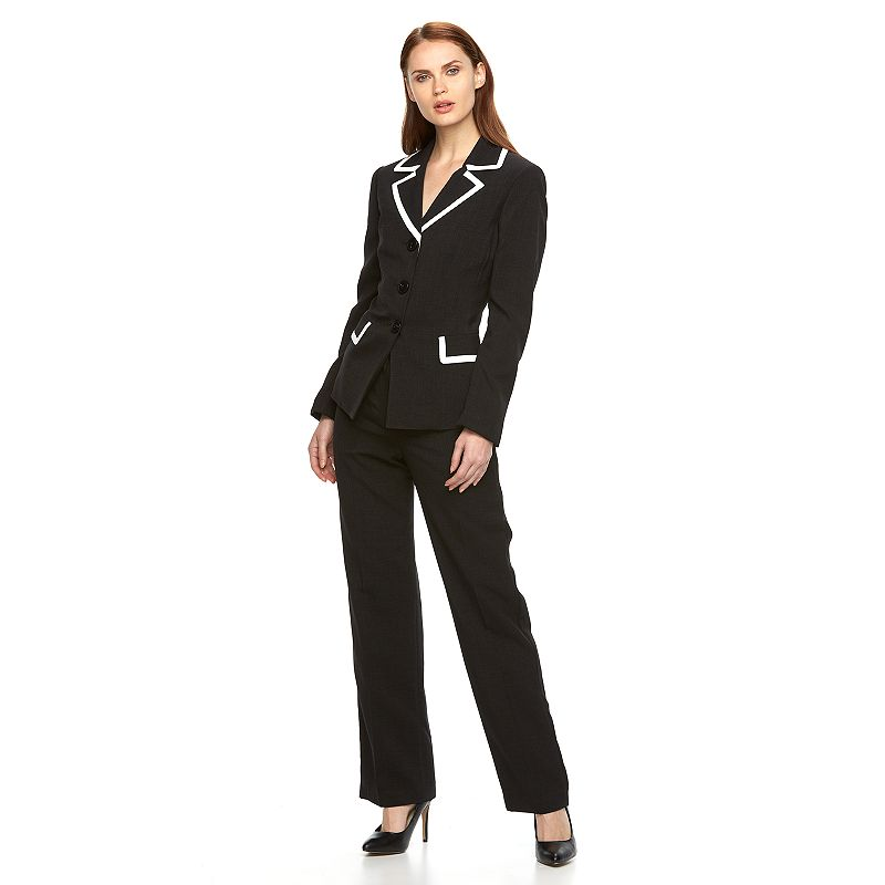 Women's Le Suit Basketweave Suit Jacket & Pants Set