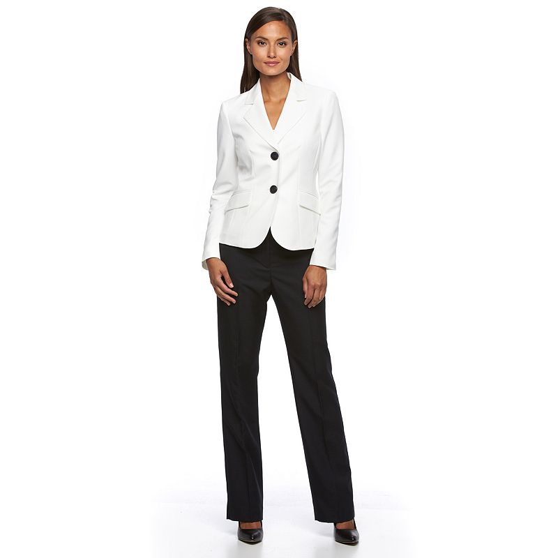 Women's Le Suit Solid Button-Down Jacket & Pants Set