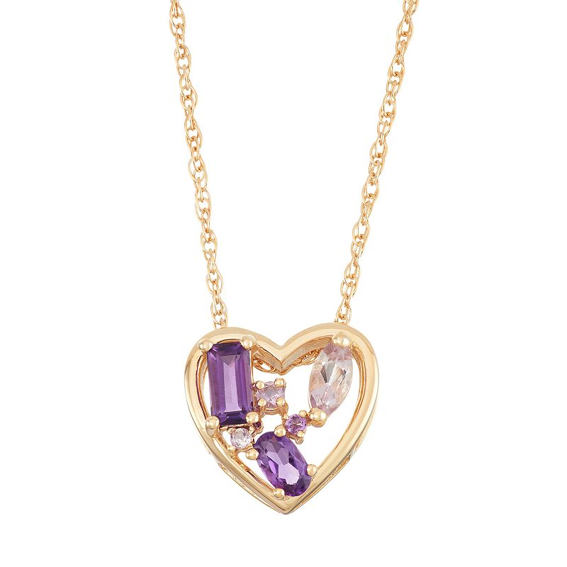 18k Gold Over Silver Amethyst & Rose de France Amethyst Heart Pendant Necklace