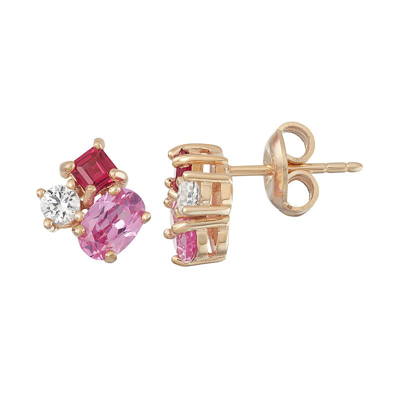18k Gold Over Silver Lab-Created Gemstone Stud Earrings