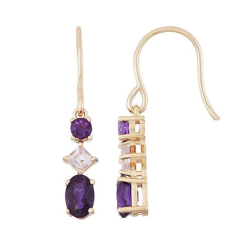 18k Gold Over Silver Amethyst & Rose de France Amethyst Linear Drop Earrings