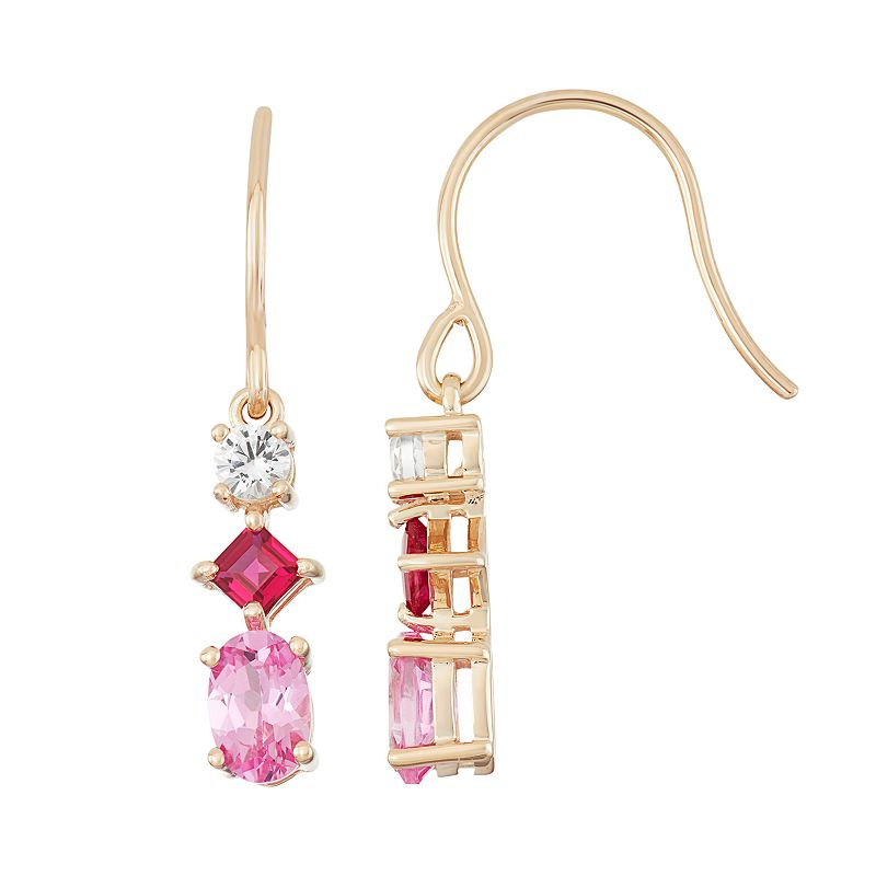18k Gold Over Silver Lab-Created Gemstone Drop Earrings