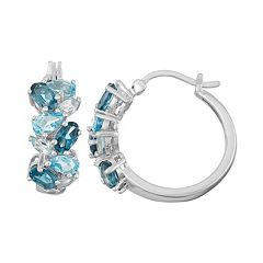 Sterling Silver London, Swiss & Sky Blue Topaz Cluster Hoop Earrings