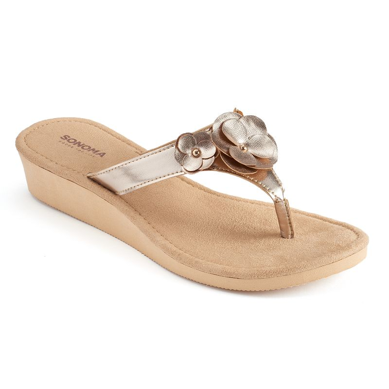 Women's SONOMA Goods for Life™ Floral Wedge Thong Flip-Flops