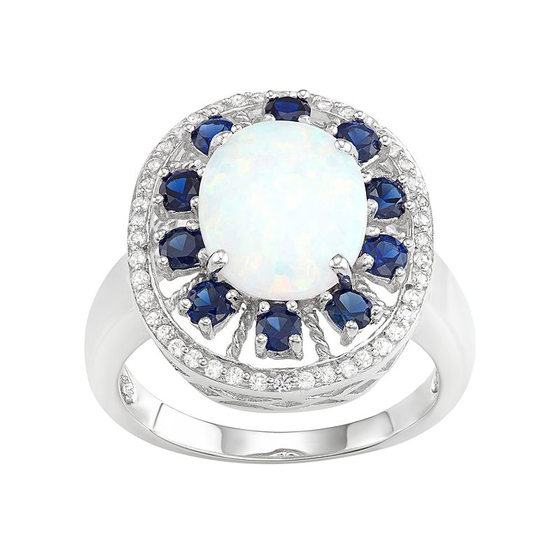 Sterling Silver Lab-Created Opal & Sapphire Halo Ring