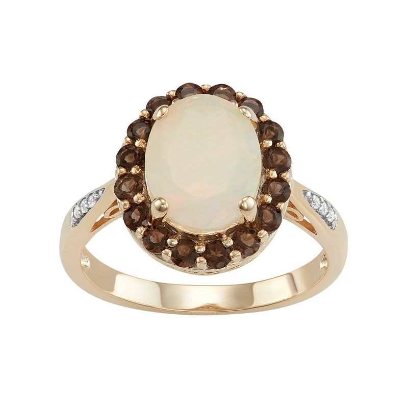 18k Gold Over Silver Opal & Brown Smoky Quartz Halo Ring