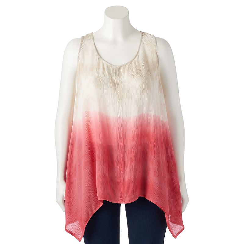 Juniors' Plus Size HeartSoul Dip-Dyed Tunic Tank