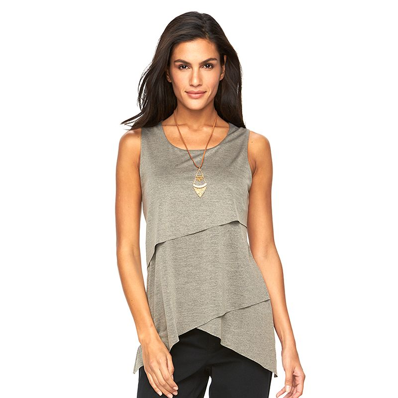 Women's AB Studio Tiered Handkerchief Necklace Tank