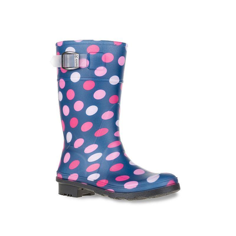 Kamik Dots Girls' Waterproof Rain Boots