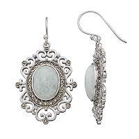 Sterling Silver Jade & Marcasite Oval Filigree Drop Earrings