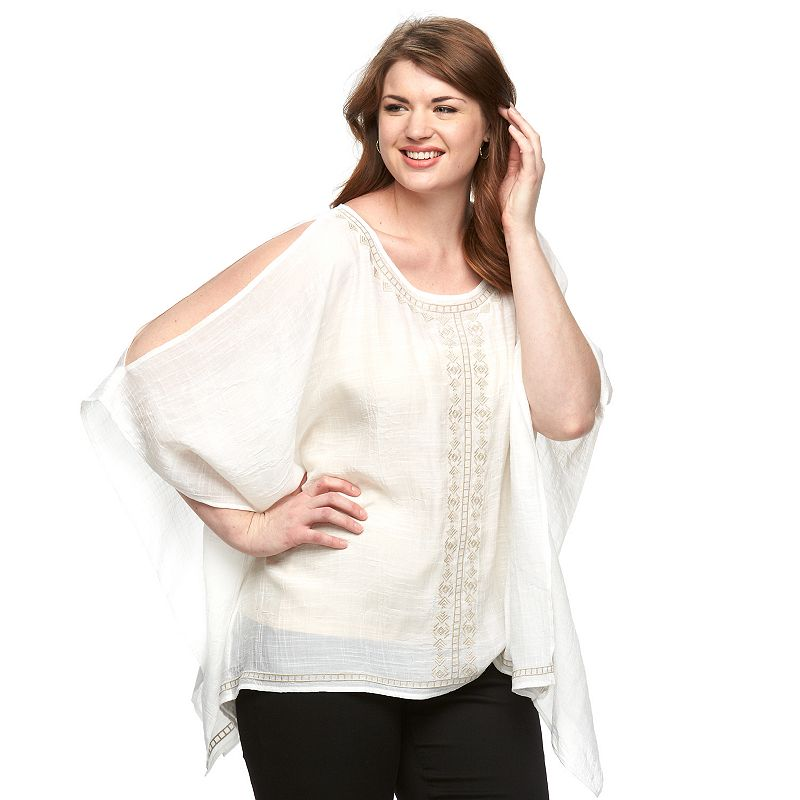 Plus Size AB Studio Embroidered Cold-Shoulder Poncho Top