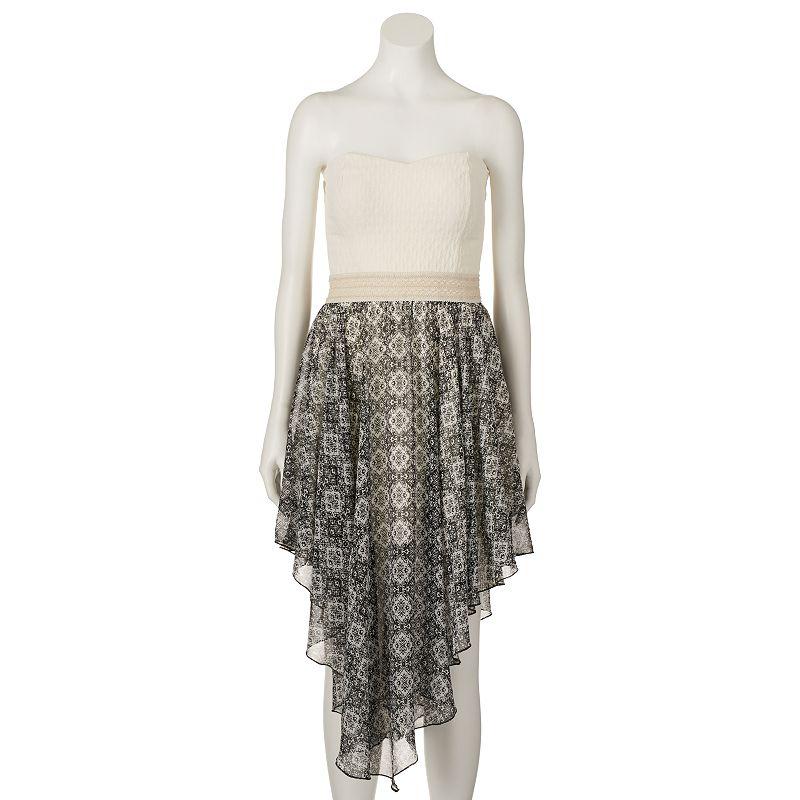 Juniors' Liberty Love Strapless Handkerchief Dress