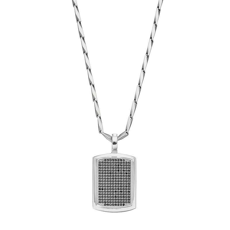 Men's Stainless Steel Cubic Zirconia Dog Tag Necklace
