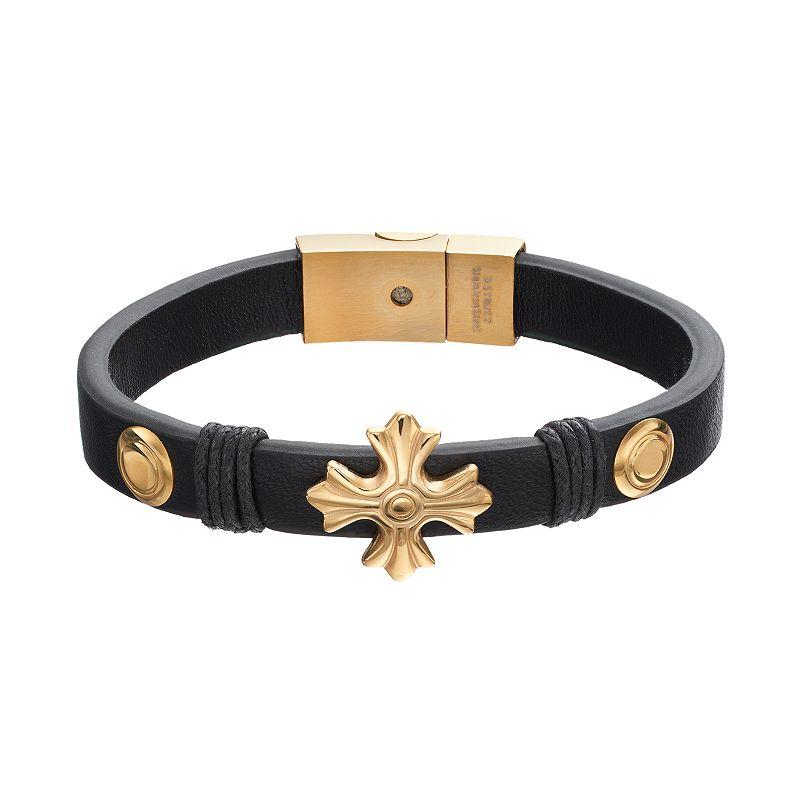 Men's Stainless Steel Leather Cross Bracelet