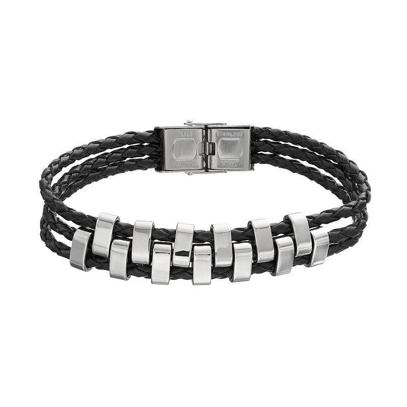 Men's Stainless Steel Leather Multistrand Bracelet